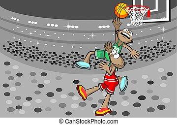 játékosok, kosárlabda, két, stadion