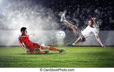 játékosok, labda, két, labdarúgás, meglepő
