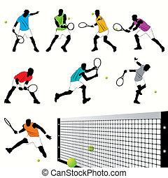 játékosok, tenisz, állhatatos