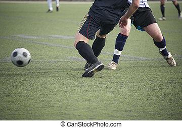 játékosok, versenyez, helyett, a, bő, focilabda