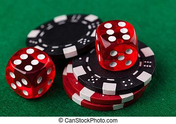 játékpénz, dobókocka, piros