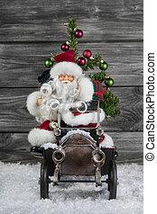 játékszer, öreg, autó, klaus, ón, ész, szent, karácsony, decoration: