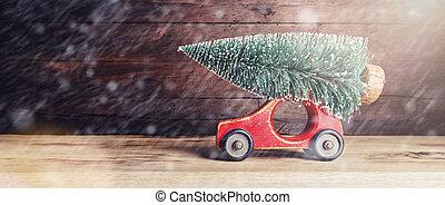 játékszer, öreg, szüret, fa, autó, karácsony