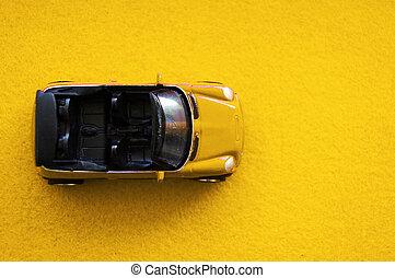 játékszer, childrens, autó, tető, sárga, átváltható, háttér, kicsi, nyílik