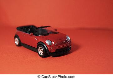 játékszer, childrens, autó, tető, suv, háttér, kicsi, nyílik, piros