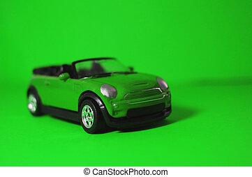 játékszer, childrens, autó, tető, zöld háttér, kicsi, nyílik, suv