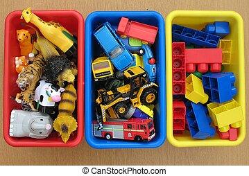játékszer, dobozok
