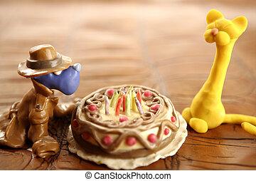 játékszer, felett, gyurma, születésnapi torta, fehér, boldog