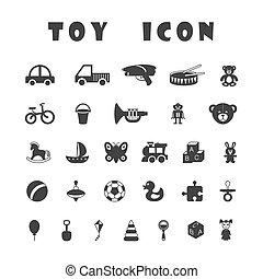 játékszer, ikonok, elszigetelt, black háttér, fehér
