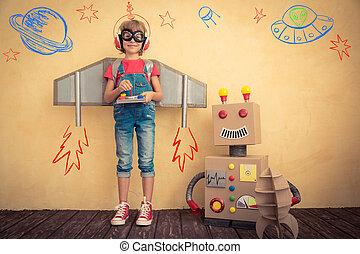 játékszer, játék, robot, kölyök, boldog