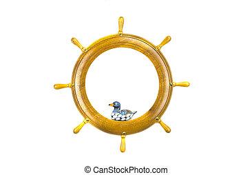 játékszer, művészet, wooden keret, elszigetelt, hajó, madár, tol, kormányzó