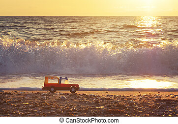 játékszer, shore., tenger