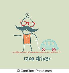játékszer, sofőr, versenyautó