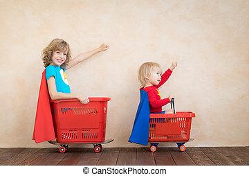 játékszer, vezetés, autó, otthon, gyerekek, boldog