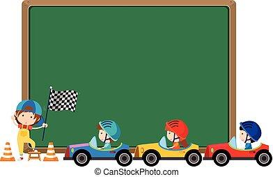 játékszer, vezetés, autók, gyerekek, sablon, határ