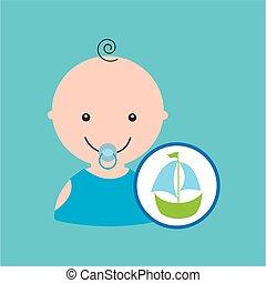 játékszer, vitorlás hajó, tervezés, csecsemő, karikatúra, ikon