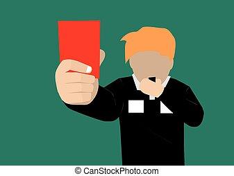 játékvezető, kártya, futball, vektor, kiállítás, piros