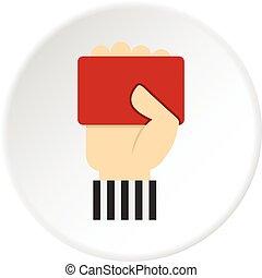 játékvezető, kiállítás, kéz, kártya, futball, piros, ikon