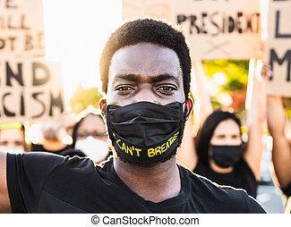 jämlike, stridande, jämlikhet, lopp, rättvisa, gata, protestera, -, protestera, mot, bor, kulturer, rörelse, rasism, aktivist, materia, demonstranter, svart, rättigheten, olik