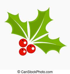 järnek bär, jul, ikon