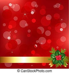 järnek, rött bär, bakgrund, jul