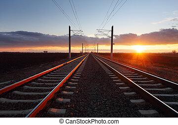 järnväg, hos, skymning