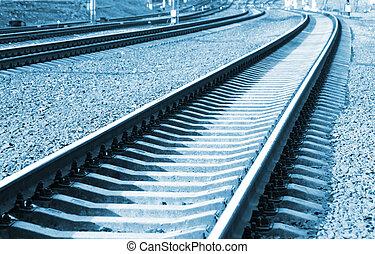 järnväg, in, perspektiv