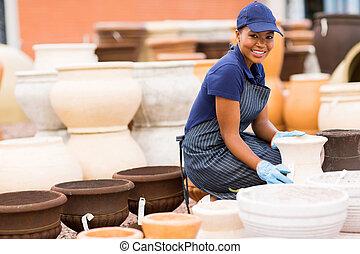 järnvaror, arbetare, kvinnlig, lager, afrikansk