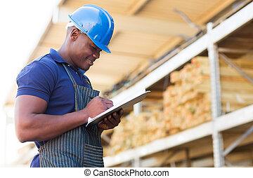 järnvaror, arbetare, lager, afrikansk