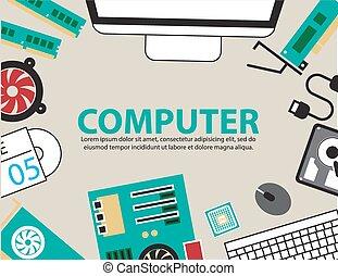 järnvaror, dator, bakgrund, skrivbord