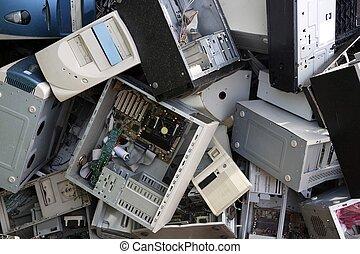 järnvaror, dator, skrivbord, återvinn industri