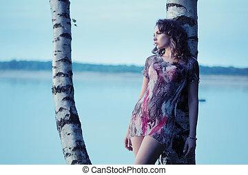 jättestor, kvinna, ung, insjö, brunett, bakgrund, sensuell