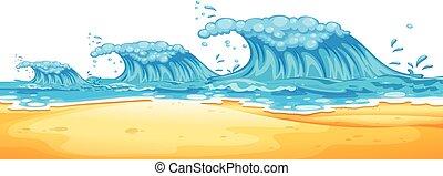 jättestor, strand, vågor