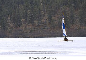 jég, csónakázás, képben látható, fagyasztott tó