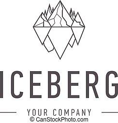 jéghegy, hegy, háromszög, ügy, jelkép, jéghegy, vagy,...