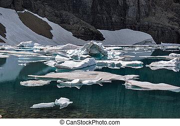 jéghegy, nyom, alatt, gleccser nemzeti dísztér, montana, usa