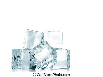 jégkockák, felett, fehér, háttér.