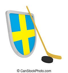 jégkorong, svédország, elszigetelt, jég, pajzs