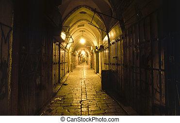jérusalem, arabe, bazar, vieux, nuit