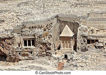 jérusalem, tombe, ancien, cimetière, israel.