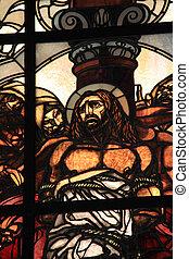 jésus, église, seconde, flagellation, dolorosa, vitraux, fenêtre, via, station, christ, arrêt