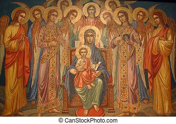 jésus, bébé, vierge marie