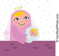 jésus, bethlehem, scene:, bébé, nativité, marie, vierge