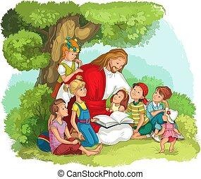 jésus, bible, lecture, vecteur, chrétien, children., illustration, dessin animé