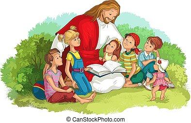 jésus, bible, lecture, vecteur, chrétien, enfants, isolé, white., illustration, dessin animé