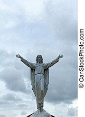 jésus christ, apparaît, dans, les, clouds.