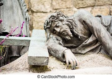 jésus christ, statue, dans, les, cimetière