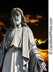jésus christ, sur, sombre, coucher soleil