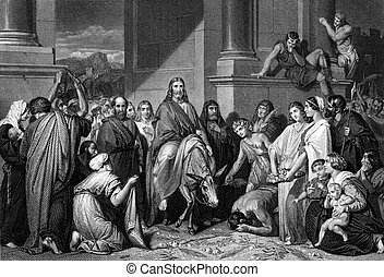 jésus, christ's, jérusalem, entrée