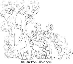 jésus, coloration, enfants, page